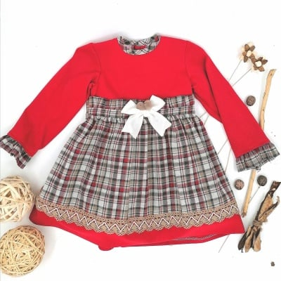Рокля за момиче комбинация червено и каре