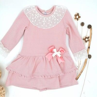 Нежна розова рокля за момиче с панделка