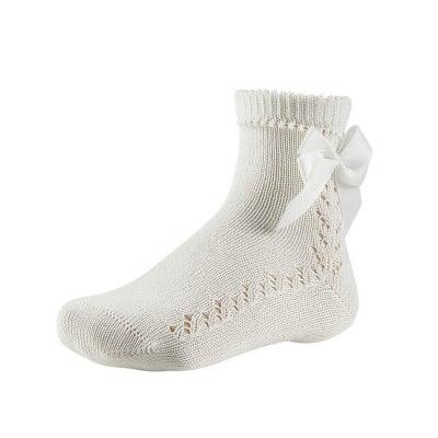 Къси бели чорапи с панделка