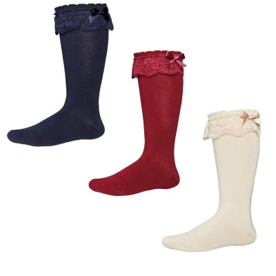 Високи чорапи с дантела и панделка