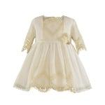Луксозна рокля в бяло с дантела