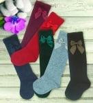 Високи чорапи с декоративна панделка в тъмни цветове